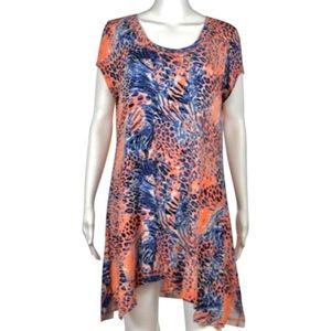 Kensie Leopard Print Asymmetric Hem Tunic Dress